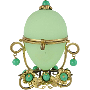REDUCED Palais Royal Jeweled Green Opaline Hinged Box