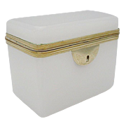 "Antique French White Opaline Hinged Casket  ""BEAUTIFUL"""