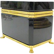 """Magnificent Antique French Opaline Casket Hinged Box """"PAW FEET"""""""