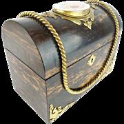 "REDUCED Antique Burled Wood Dome Top Letter Box"" PUTTI PORCELAIN PLAQUE"""