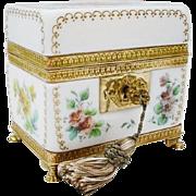 "REDUCED Antique French Bulle de Savon Opaline Casket Hinged Box ""GRANDEST"""