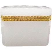 """Antique French White Opaline Diamond Cut Casket Hinged Box """"SPECTACULAR"""""""
