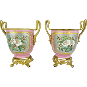 "SOLD Antique French Sevres Style Cachepots ""Luscious Pink Porcelain"""