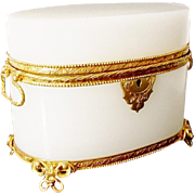 "Antique French Oval White Opaline Double Handle Casket Hinged Box ""EXQUISITE & RARE"""
