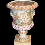 """17"""" Antique Capodimonte Planter Pedestal Base """"CHERUBS"""""""