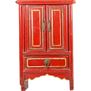 """Beautiful 16"""" Chinese Miniature Red Lacquered Cabinet"""