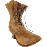 """SALE Antique Carved Wood """"BOOT""""  Go to Bed  W/ String Lacing"""