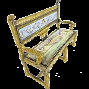 """SALE Antique Viennese Enamel Miniature Settee """"RARE SHAPE"""""""