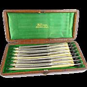 SALE Antique Seven Day Set of Wilkinson Straight Razors in Original Alligator Box