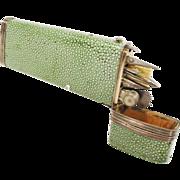 "SOLD Antique Georgian Shagreen 7"" Etui, Drafting Tools…Complete"