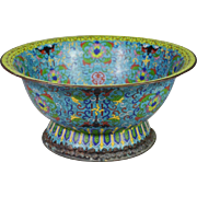 """Gorgeous 19C  15 """" Chinese Cloisonné Footed Bowl"""