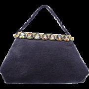 "SALE Antique Jeweled Beaded Handbag "" 7 LIMOGES Plaques  & Pearls"""