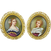 "PAIR Antique French Porcelain Miniatures ""PRETTY LADIES"""