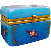 "Antique Blue Opaline Casket Hinged Box ""GLORIOUS"""