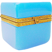 "Antique French Blue Opaline Hinged Box ""FANCY MOUNTS & CLASP"""