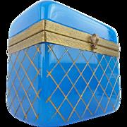 "BIG Antique French Opaline Casket Hinged Box ""DEEP CUT w X CROSS CUT"""
