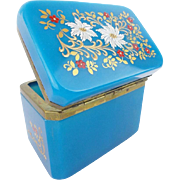 "Exquisite Antique French Blue Opaline Casket Hinged Box ""VERY FINE HAND ENAMEL"""