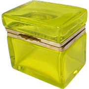 """SALE Antique  French  Crystal Casket Hinged Box """"YUMMY LEMON YELLOW"""""""