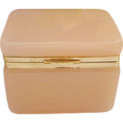SALE Antique French Pink Opaline Hinged Box