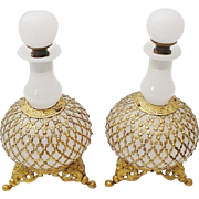 """Antique French White Opaline Scents Bottles  """"A PAIR """"Exquisite Footed Base"""