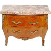 """SOLD Antique French Miniature Bombe Chest """" Marble Top"""""""