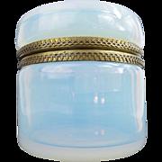 """REDUCED Antique French Bulle de Savon Opaline Casket Hinged Box """"MASSIVE & LUMINOUS"""""""