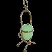 "12 ½""  Palais Royal Green Opaline Casket Hinge Box"