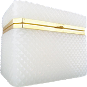 """Antique French Diamond Cut White Opaline Casket Hinged Box """"AWESOME CUT"""""""
