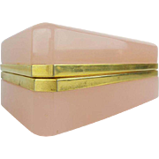 """REDUCED Antique French Pink Opaline Casket Hinged Box  """"MAGNIFICENT"""""""