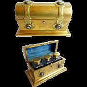 "SALE Antique English Bronze and Petra Dura Scent Casket ""3 BIG SCENT BOTTLES"""