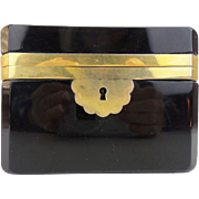 """Antique French Black Opaline Casket Hinged Box """"A BEAUTY!""""  EXQUISITE"""