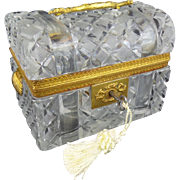 "Antique French Crystal Dome Top Trunk Casket Hinged Box ""DOUBLE SHELL HANDLES"""