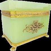 "Antique Green Opaline Casket 'MAGNIFICENT GILDING"""