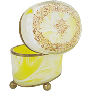 REDUCED Antique Bohemian Lemon Swirl Casket Hinged Box