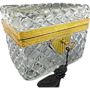 "REDUCED Antique French Cut Crystal  Casket Hinged Box ""BIG RECTANGULAR"""