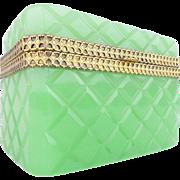 "Antique Green  Opaline Casket Hinged Box ""DIAMOND CRIS CROSS CUT"""