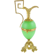 "REDUCED Palais Royal Green Egg Shaped Hinged Box ""EWER SHAPE""  RARE Green Opaline"