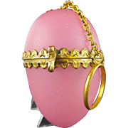 "Palais Royal Pink Opaline Chatelaine  ""EGG SHAPE BOX"""