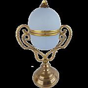 "9 ½"" Palais Royal Opaline Egg Box ""FABULOUS ORMOLU STAND"" RARE Light Lavender"