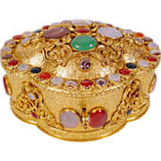 "Magnificent Antique Jeweled Bronze Casket Hinged Box""Striped Agate, Moonstone, Carnelian,"