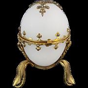 "SALE Palais Royal White Opaline Hinged Box""  CUT STEEL GEMS"""