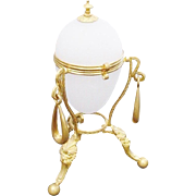 "7 ½"" Palais Royal Opaline Casket Hinged Box ""RARE BABY BLUE OPALINE"""