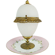 Palais Royal  Opaline Casket Hinged Box with Hand Painted Porcelain Trinket Tray