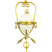 "SALE Palais Royal Opaline Egg Casket Hinged Box "" STUNNING BRONZE STAND"""