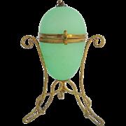 """SOLD Palais Royal Green Opaline """"EGG"""" Hinged Box"""
