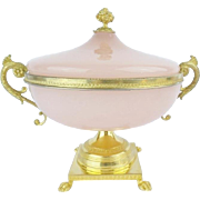 "SOLD LAYAWAY. Antique French Pink Opaline Double Handle Center Bowl ""PAW FEET & STUNNING"