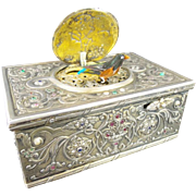 """SALE Antique Jeweled Silver Bird Box""""EMERALDS,RUBIES, SAPPHIRES, & PEARLS"""""""