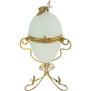 "Palais Royal White Opaline Egg Shaped Hinge Box  ""FLOWER FINIAL AND VF ORMOLU"""