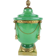 "10 ½"" Antique French Green Opaline Covered Cachepot "" DRIPPING IN GILT CHAINS & TASSEL"