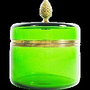 SALE BIG Vintage ITALIAN Green Glass Hinged Box